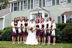 tea length bridesmaid dresses, white shawls, fall bridesmaids colors
