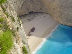"""Navagio Beach also known as """"The Shipwreck"""" is on the coast of Zakynthos, Greece. It is also regarded among some of the most beautiful beaches of the world. Barbados Beaches, Barbados Travel, Honduras Travel, Singapore Travel, Beach Fun, Beach Trip, New Zealand Beach, Estonia Travel, Beaches In The World"""