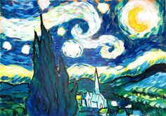 Van Gogh Style Painting - Starry Night tehniques - Check out how I recreate the famous Vincent Van Gogh's Post-Impressionist Painting in Acrylics. Painting & Drawing, Watercolor Paintings, Acrylic Tutorials, Impressionist Paintings, Vincent Van Gogh, Acrylics, Oil, Night, Canvas