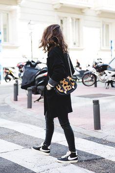 black coat, leopard bag & high-top Nike sneakers #style #fashion #kicks