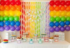 Rainbow party wall decor plus free pennants and labels that tie into rainbow party theme.