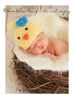Baby bird hat in chunky yellow yarn with flower by WillowsGarden, $22.00