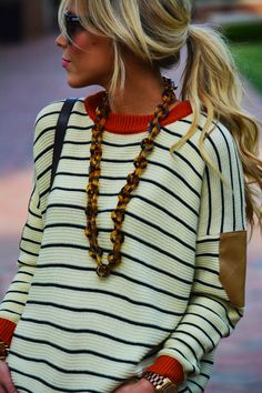 I love this! Boho-style stripes + chunky necklace #summerstyle #beachready
