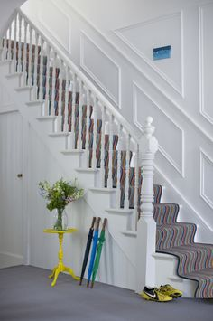 Hallway paint ideas grey hallway paint colors hallway contemporary carpeted hallway idea in hallway paint ideas . Grey Hallway Paint, Dark Hallway, Contemporary Hallway, Contemporary Carpet, Narrow Staircase, Staircase Design, Wall Carpet, Carpet Stairs, Grey Carpet