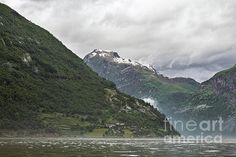 Mountains in Geiranger in a cloudy day, Norway