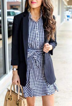 Work Outfit Inspiration   Gingham Dress for Work with blazer #workwear #springdress #officewear #workoutift