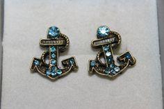 Anchor Stud Earrings Sky Blue  Ocean Sailing by KimberlysTreasure, $16.00