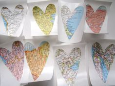 Heart cut outs of places we've lived or vacation spots...