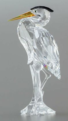 63031: A SWAROVSKI CRYSTAL SILVER HERON FIGURINE IN ORI : Lot 63031
