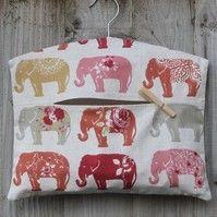 Floral Elephant Print Clothes Peg Bag