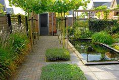 tuin met strakke vijver