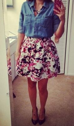 FLORAL PLAID HIGH WAIST FULL SKIRT - Express