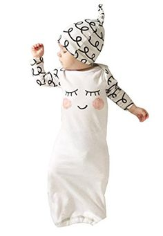 MNLYBABY Newborn Baby Cotton Eyes Sleeping Bag Long Sleeve Gown with Hat -- Continue to the product at the image link.