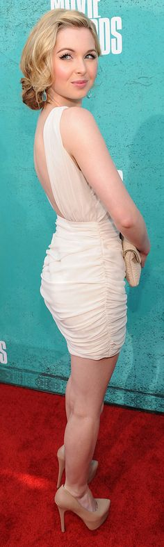 Kirsten Prout wearing a white dress by Keepsake at the MTV Movie Awards 2012