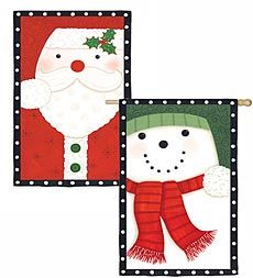 santasnowman 2 sided appliqu flag looks great on your porch yard or - Santa Snowman 2