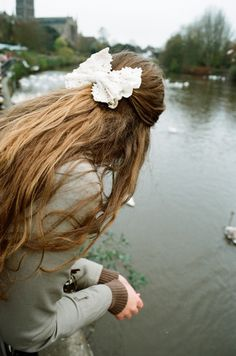 wavy hair and lace bow