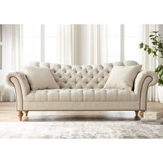 This beautiful classic tuft sofa is a perfect addition to your living room. Vanna 90 Wide Brussel Linen Tufted Sofa with Pillows Tufted Couch, Upholstered Sofa, Tuffed Sofa, Chesterfield Sofa, Living Room Sofa Design, Living Room Designs, Living Room Decor, Living Room Furniture Sets, French Sofa