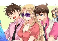 shopping with vermouth, kaito and shinichi Super Manga, Detective Conan Shinichi, Detektif Conan, Kaito Kuroba, Gosho Aoyama, Kaito Kid, Amuro Tooru, Kudo Shinichi, Handsome Anime Guys