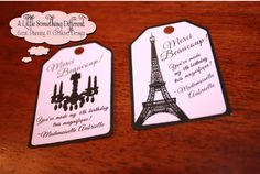 These were designed originally for my daughters 4th birthday, which was Hello Kitty Goes to Paris, and are one of my favorites! They are perfect for adding to wrapped cookies, bags, or other goodies!  The tags are printed in black ink onto pink cardstock and will come hole punched for your convenience. They measure 1.75 inches x 2.5 inches and are sold in sets of 15. Please let me know if you prefer one or both designs on the tags - Eiffel Tower/Chandelier. **DESIGN DETAILS** The wording...