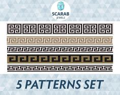 Looking for your next project? You're going to love Greek Motifs 5 Patterns Set Loom Bead by designer ScarabJewels.#loom #diy #craft #greek