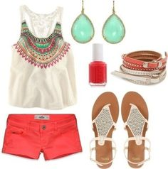 tank top coral jewels shoes blouse printed blouse shorts sandals nail polish earrings jewelry bracelets lace back colorful aztec flowy tank cropped summer cute spring t-shirt top