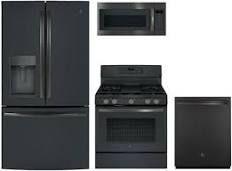 Ge 4 Piece Black Slate Kitchen Package With Gfd28gelds 36 French Door Refrigerator Jgb700fejds 30 Freestanding Gas Range Jvm7195fl Slate Kitchen Slate Appliances French Door Refrigerator