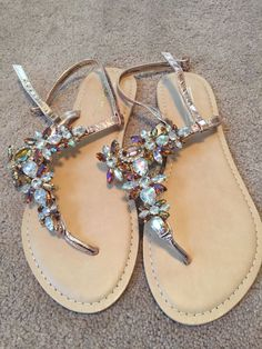 4cc434dcb5ae51 Asos Brand New Jewelled Sandals Size 8  fashion  clothing  shoes   accessories