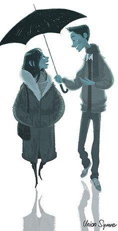 aww, sharing an umbrella :)