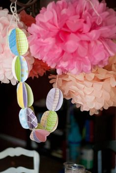 Easter decorations 3D egg garland and poms