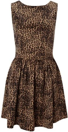 Glamorous Animal Fit and Flare Dress in Scoba Fabric