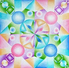 Colored Pencil, Radial Design w/ Gradient - Conway High School Art Project