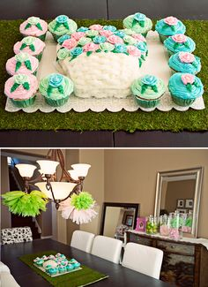 Lovely Flower Garden Birthday Party - LOVE how cupcakes are surrounding the actual cake - great visual. must do. Interior decor. simple.