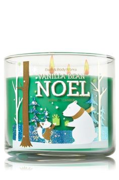 """Vanilla Bean Noel - 3-Wick Candle - Bath & Body Works - The Perfect 3-Wick Candle! Made using the highest concentration of fragrance oils, an exclusive blend of vegetable wax and wicks that won't burn out, our candles melt consistently & evenly, radiating enough fragrance to fill an entire room. Topped with a festive, snowflake-embossed silver lid! Burns approximately 25 - 45 hours and measures 4"""" wide x 3 1/2"""" tall."""