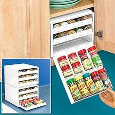 I have a small cabinet this would be perfect for! I have a small cabinet this would be perfect for! Spice Storage, Spice Organization, Kitchen Storage, Food Storage, Organizing Tips, Spice Rack White, Plastic Food Containers, Ideas Prácticas, Ideas Para