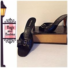 """Arriving Soon: PRADA Black Leather Slides, Size 39 Very Good Pre-Loved Condition: PRADA Slides, Size 39 