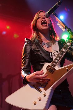 Lzzy Hale of Halestorm. We saw her last night at Bayfest, and... wow. She's incredible. A great performer, vocalist, and guitarist. I was super impressed.