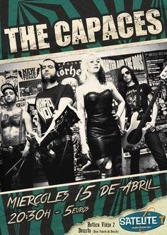Cartel de  The Capaces en Satélite T, Bilbao, 15/IV/2015