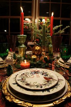 Christmas Tablescape Ideas - love the emerald stemware, the cardinal china pattern and the gold baroque charger.