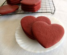 Red Velvet Heart Cut Out Cookies