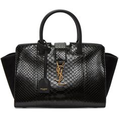 Saint Laurent Black Baby Downtown Cabas Tote (€2.740) ❤ liked on Polyvore featuring bags, handbags, tote bags, black, leather tote purse, leather handbags, leather key ring, zip tote bag and genuine leather tote