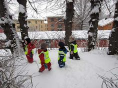 Hmmm.... Forest kindergarten is Friluftslivbarnehage in Norwegian.  These children in Oslo play outside in all weather for hours a day.  Friluftsliv is the word for outdoor living and is essential to Norwegian culture.