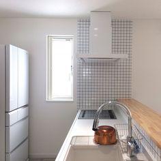 Kitchen/パナソニック/Panasonic/白タイル/LIXILタイル/Panasonicの冷蔵庫...などのインテリア実例 - 2017-01-05 01:55:39   RoomClip (ルームクリップ)