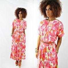 vintage 80s MELON op art CITYSCAPE maxi dress size L by PasseNouveauVintage, $32.00