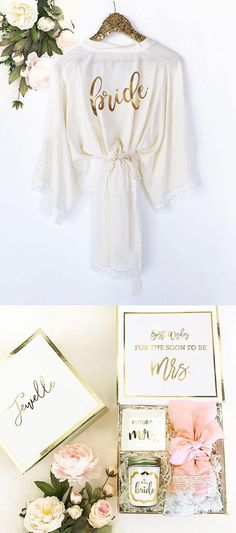 Bride Robe Lace Cotton Bride Gift Bride to Be Gift Wedding Day Robe Getting Ready Robes White Robe Lace Bridal Shower Gift #bride #bridalshower #wedding