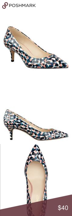 """Nine West """"Xeena"""" Pointy Toe Pump A tapered kitten heel adds vintage inspired elegance to a shapely pump finished with a pointed toe  - Multi-color patent (blue, pink and black) - Heel height: 2 1/4""""  - Material: Synthetic upper, synthetic lining and sole - Size: 9 - Shoe Width: Medium - Excellent used condition (worn once) - Primary wear is sole of the shoe only - Shoes only Nine West Shoes Heels"""