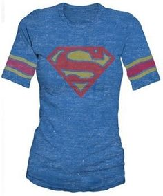 Supergirl Shield T-Shirt on www.amightygirl.com, the one I have has glitter on it. Glitter is better :)