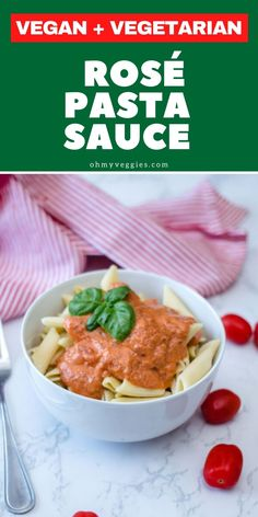 This Easy Rosé Sauce is perfect for pasta. The recipe is simple to make, and the sauce is extremely tasty! Serve with a side of crusty garlic bread. Vegan Lunches, Vegetarian Lunch, Vegetarian Cooking, Vegetarian Cheese, Lunch Recipes, Summer Recipes, Vegan Recipes, Rose Pasta, Simple Rose