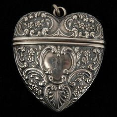 Foster Bailey Sterling Victorian Repousse Heart Locket I want this Locket. I used to wear it everywhere I Love Heart, Key To My Heart, Happy Heart, Heart Art, My Funny Valentine, Antique Jewelry, Antique Silver, Valentines Day Hearts, Heart Locket
