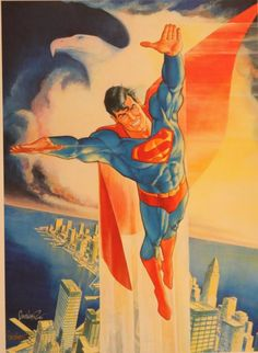 Anthony's Comic Book Art :: For Sale Artwork :: Superman Flying Print- Signedby artist Jose Garcia-Lopez