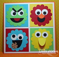Sesame Street card using scalloped punch